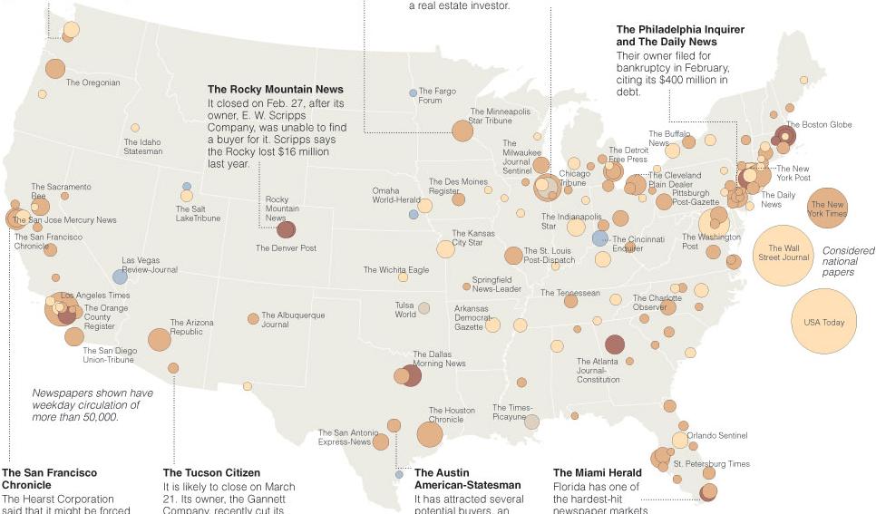 Landkarte der U.S. Presseverluste