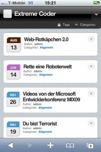 ExtremeCoder.de auf dem iPhone