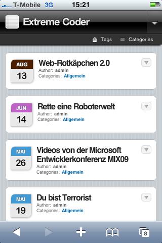 Extremecoder auf dem iPhone
